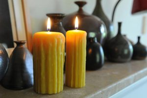 rustic beeswax pillar candles