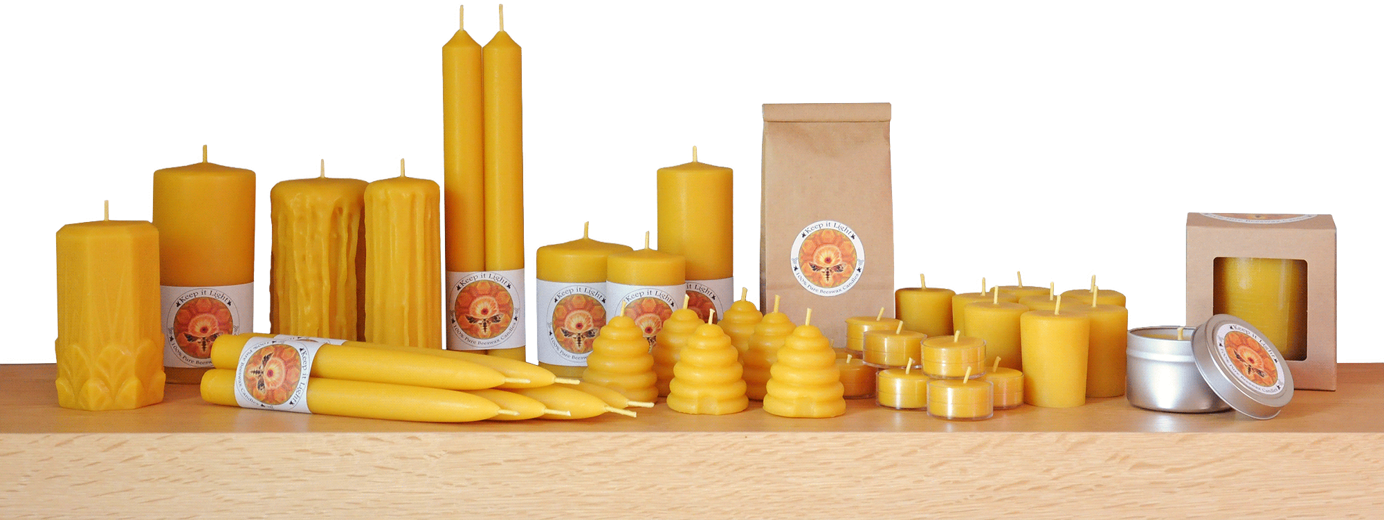 100% pure beeswax candles in assorted shapes and sizes by Keep It Light