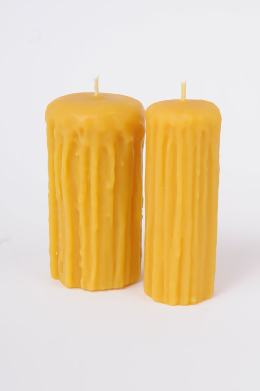Rustic 5 inch Beeswax Pillar Candles
